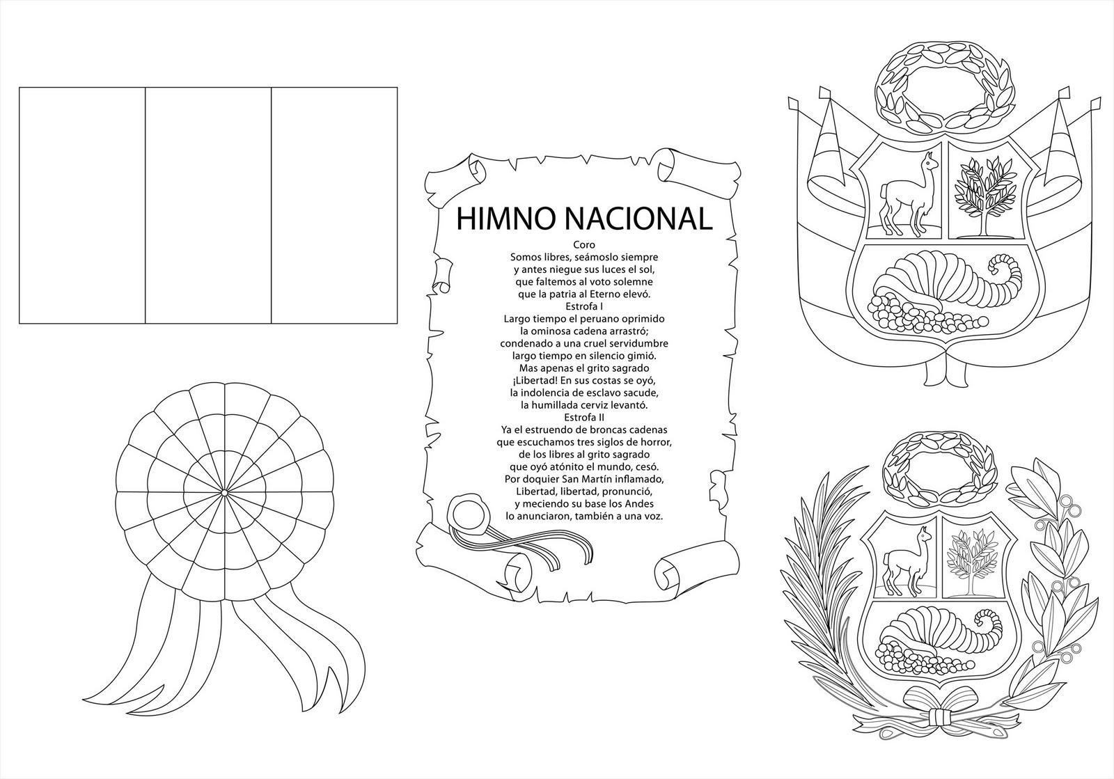 Simbolos Patrios De Peru Para Colorear