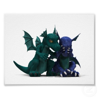 a green baby dragon comforts a blue baby dragon, who covers their face in sadness