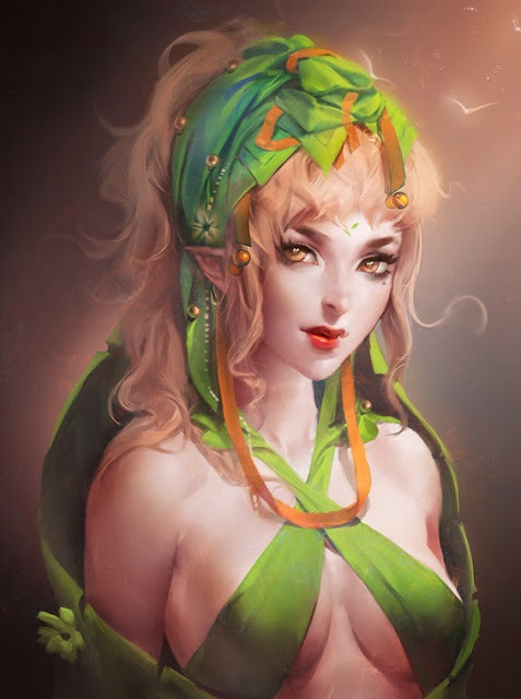 elf girl,digital art portrait,digital art wallpaper