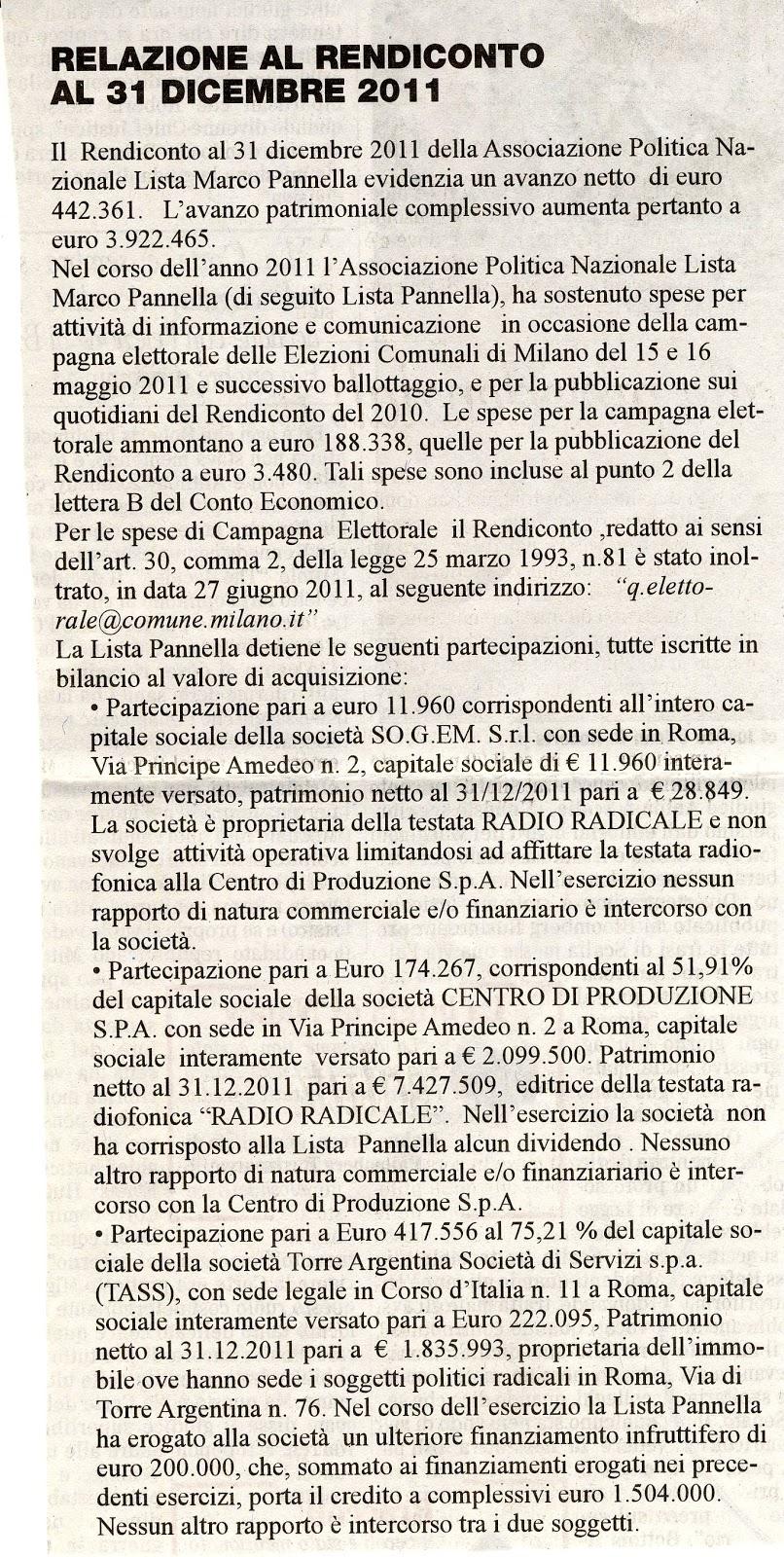 Lanfranco palazzolo il bilancio della lista pannella for Lista politici italiani