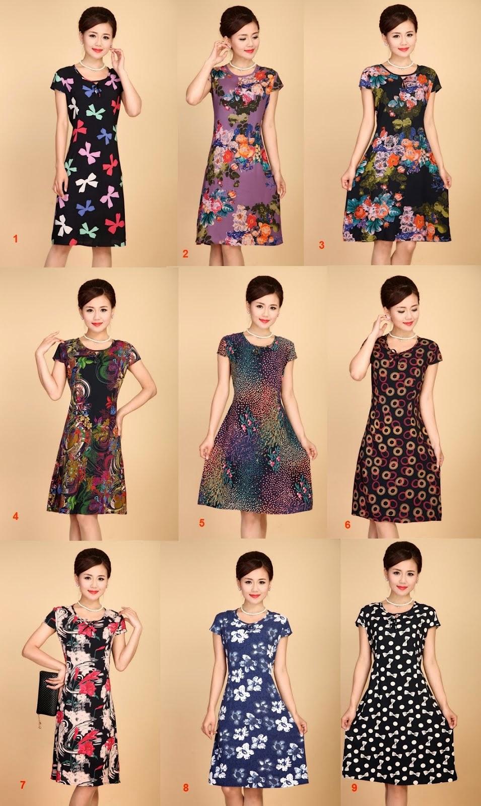 Adjustable Plus Size New Spring Print Rayon Silk Cotton Midi Dress II