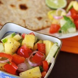 Pineapple cucumber bell pepper salad recipe asian SeasonWithSpice
