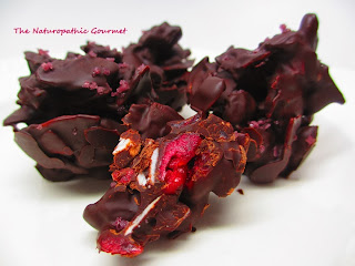 http://naturopathicgourmet.blogspot.com/2012/12/dark-chocolate-clusters-with-cranberries.html