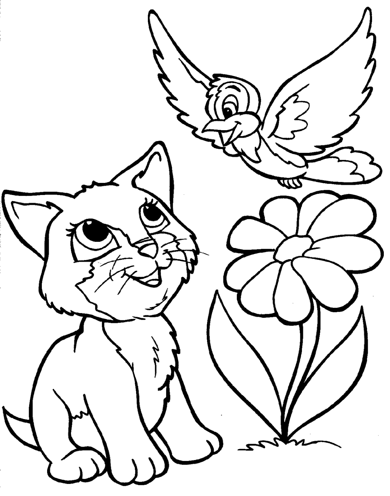 Disegni da colorare gattino uccellino fiore Coloring drawings for kids