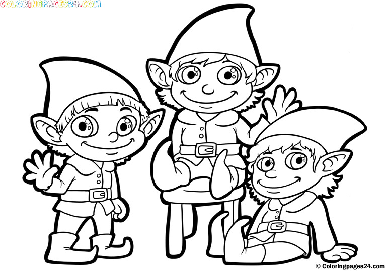 santa and elves coloring pages - photo#14