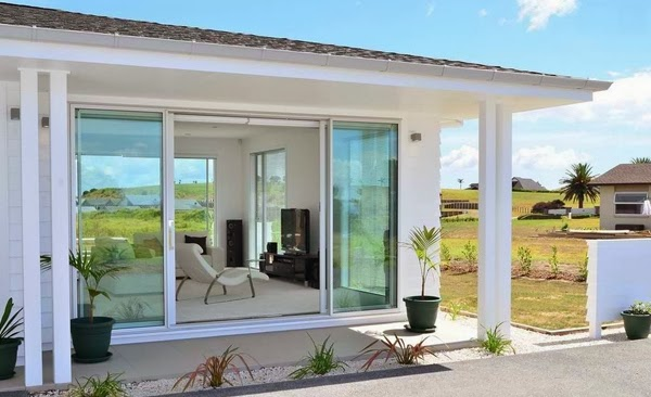The Terrace Of This House Looks More Beautiful With Large Glass Doors That  Open Independently . The Door Looks Beautiful Contrast With The White Color  Of ...