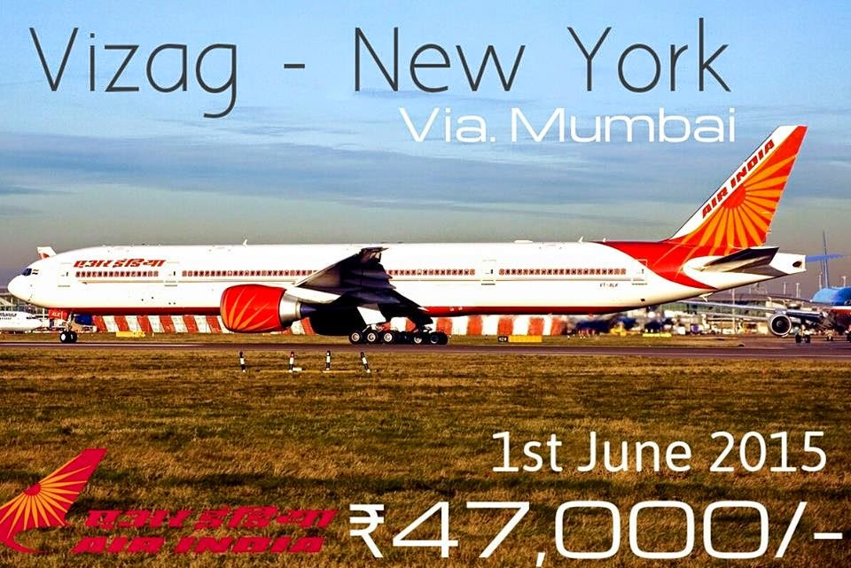 Vizag to NewYork  Flight from Visakhapatnam Airport from June 2015