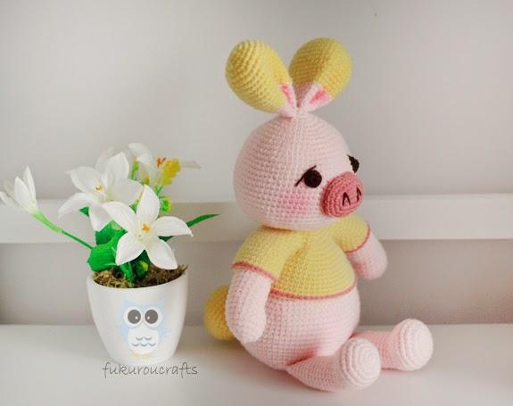 Amigurumi Pig Rabbit : fukuroucrafts: Cute Crochet Pattern Pig Rabbit Doll ...