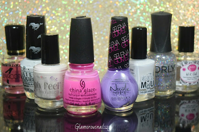 Duri Rejuvacote, O.P.I. Angel With A Lead Foot, Bliss Kiss Simply Peel Latex Barrier, China Glaze Glow With The Flow, Nicole By O.P.I. Love Song, Mundo De Unas White, Orly Shine On Crazy Diamond, Glisten & Glow HK Girl Fast Drying Top Coat