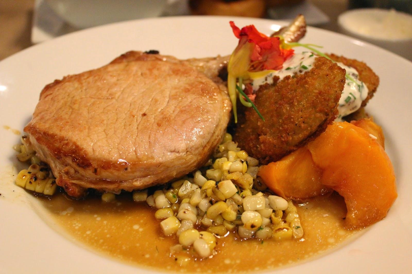 Pork chop at Gibbet Hill Grill, Groton, Mass.