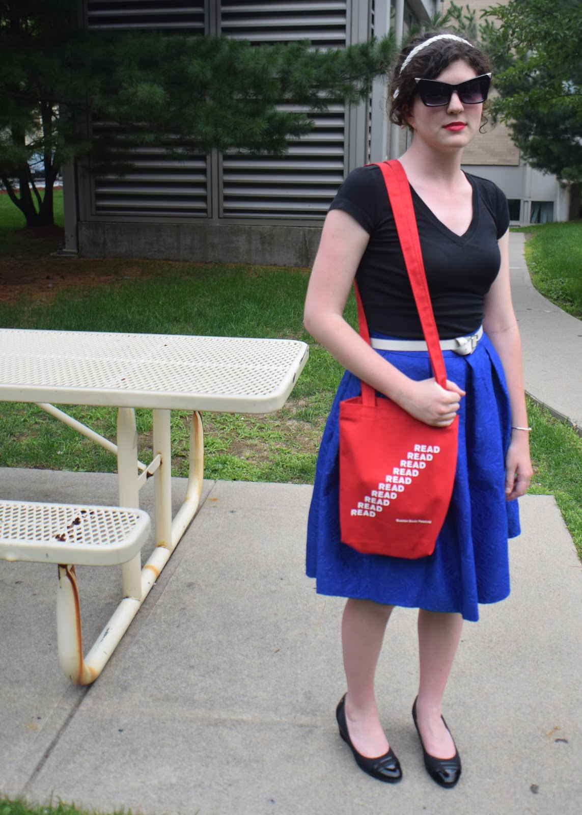 4th of July outfit, romwe midi, stunner of the month, DSW heels, thrifted belt, boston book festival