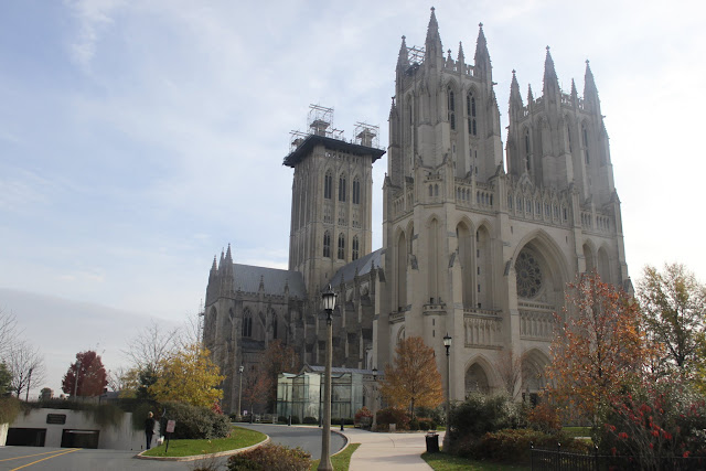 Washington National Cathedral within Dupont Circle neighbourhood in Washington DC, USA