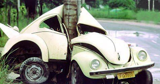funny picture of crashed VW Beetle