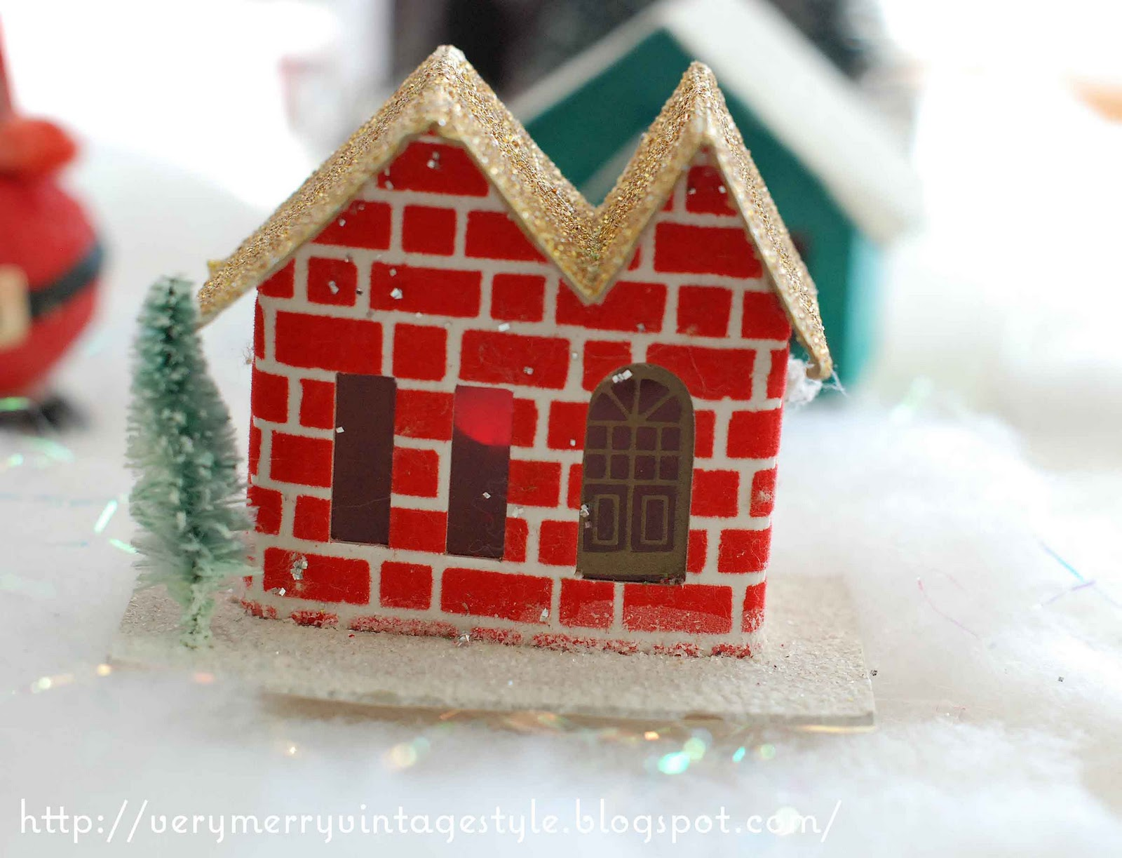 Very Merry Vintage Syle Glitter House Christmas Village
