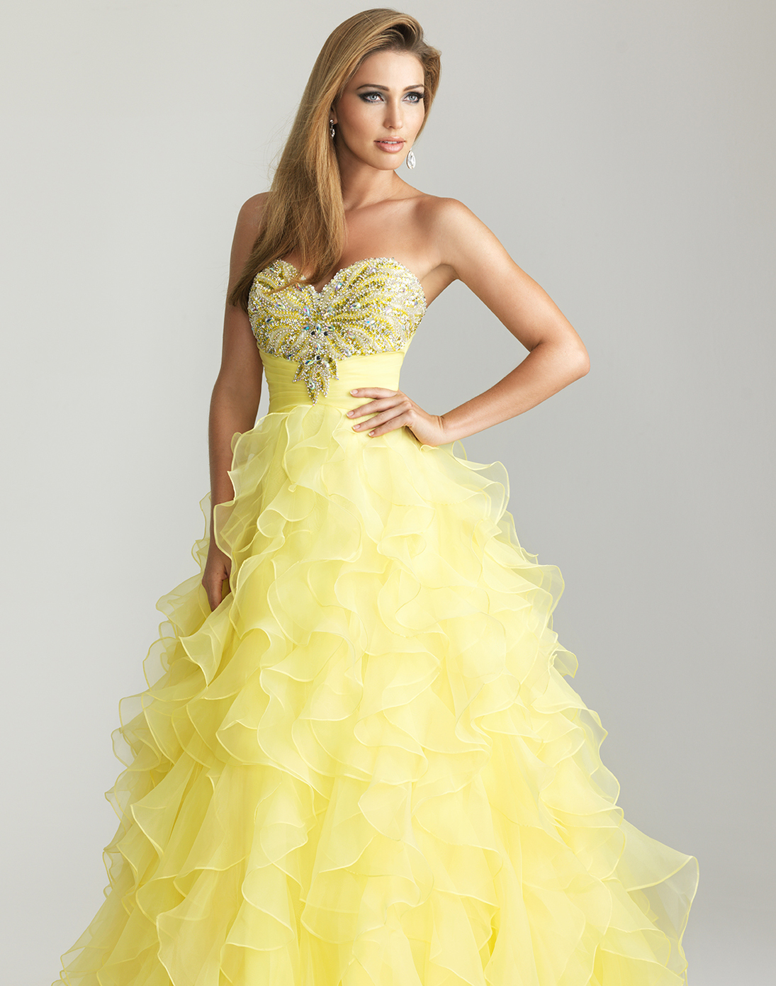 Yellow Evening Gowns SHORT ASIAN HAIRSTYLES...