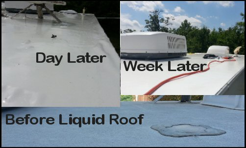 Wanted To Give An Update A Week After Our Application Of Liquid RV Roof.  Our Aches And Pains Are Just About Subsided. The Roof Is Nicely Sealed And  Bonded ...