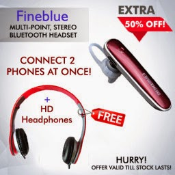 Buy Fineblue FX-2 V4.0 Multipoint Stereo Bluetooth Headset at Best Price & Get Free HD Headphones at Rs.525 : Buy To Earn