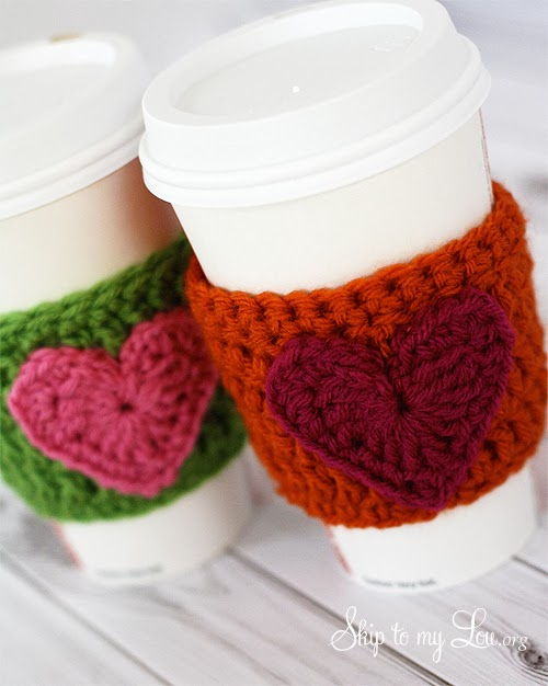 tangled happy: Crochet Heart Coffee Cozy