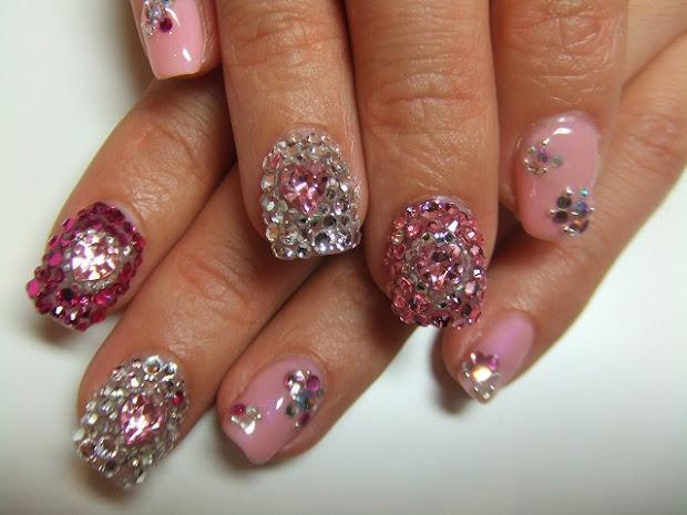 rhinestone nails design