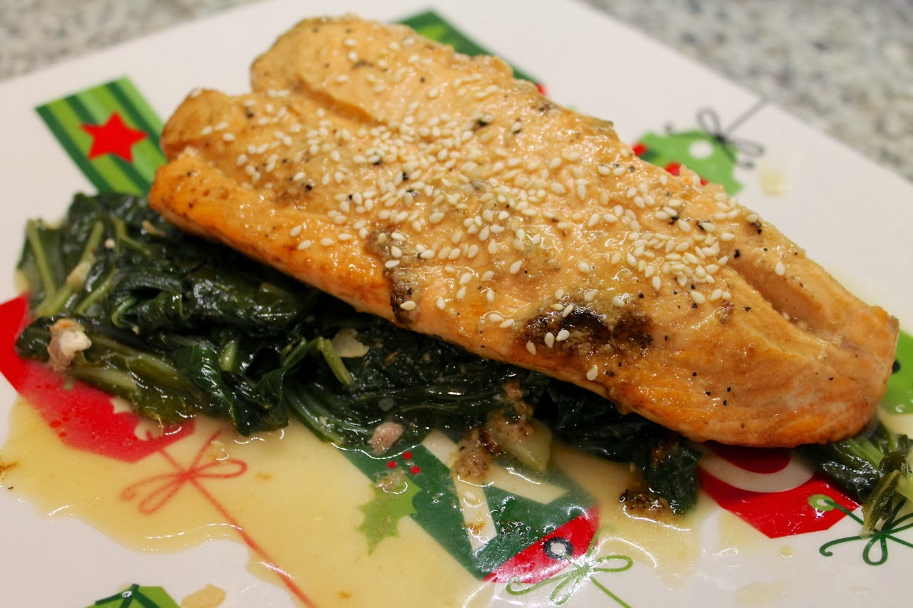 ... Dine Out: Mustard Broiled Salmon with Miso and Honey Braised Greens
