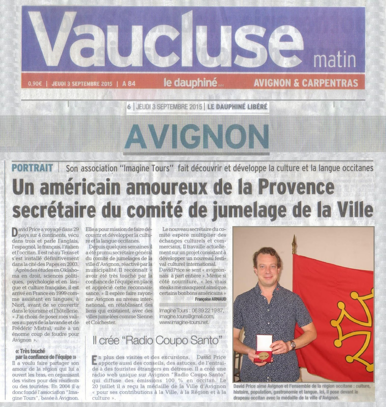 Imagine tours blog un am ricain amoureux de la provence secr taire du comi - Le journal de la provence ...