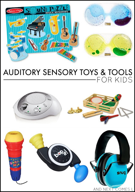 Auditory sensory toys & tools for kids - great ideas for kids with autism and/or sensory processing issues from And Next Comes L
