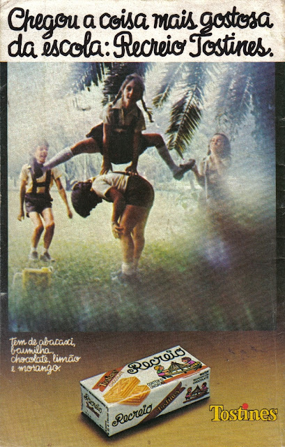 Propaganda do Lanche Recreio em 1977. Foco na alimentação das crianças no intervalo das aulas.