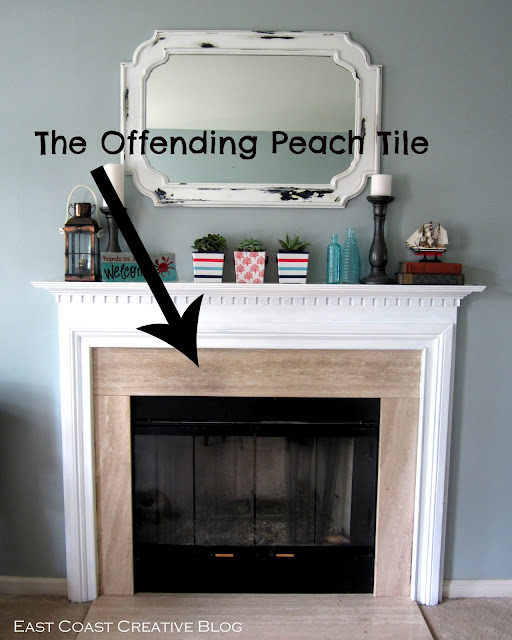 Stenciled Faux Tile Fireplace Tutorial East Coast Creative Blog