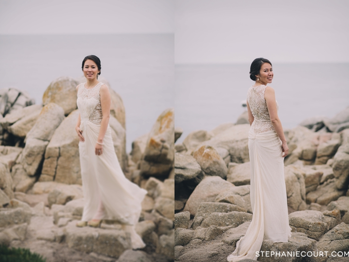 bride and groom wedding photos at lovers point monterey