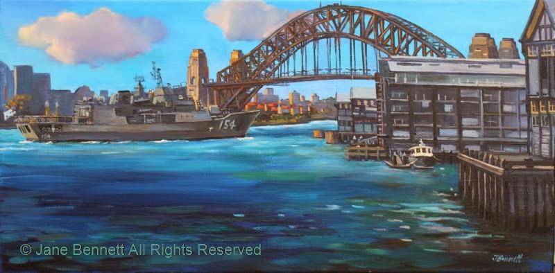 plein air oil painting by artist Jane Bennett of  HMAS Parramatta departing under the Sydney Harbour Bridge during International Fleet Review