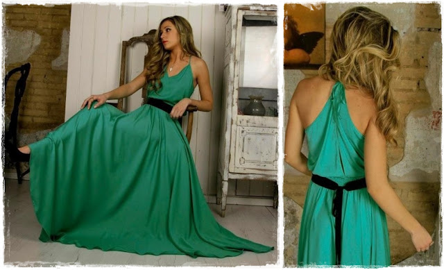 Vestido largo verde Clés