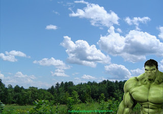 Desktop Wallpaper of The Incredible Hulk Watching You at Work in Tropical Forest Sky Desktop wallpaper