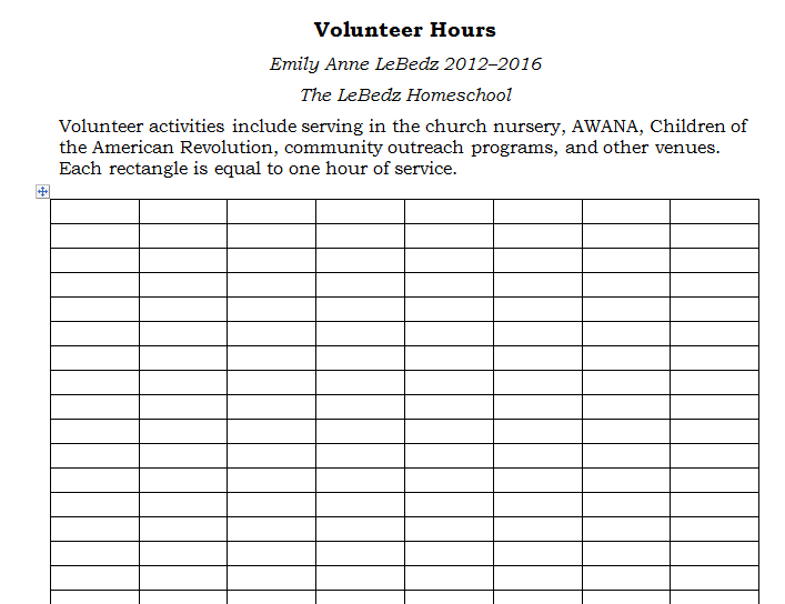 Service Hours Sheet High school community service hours essay ...
