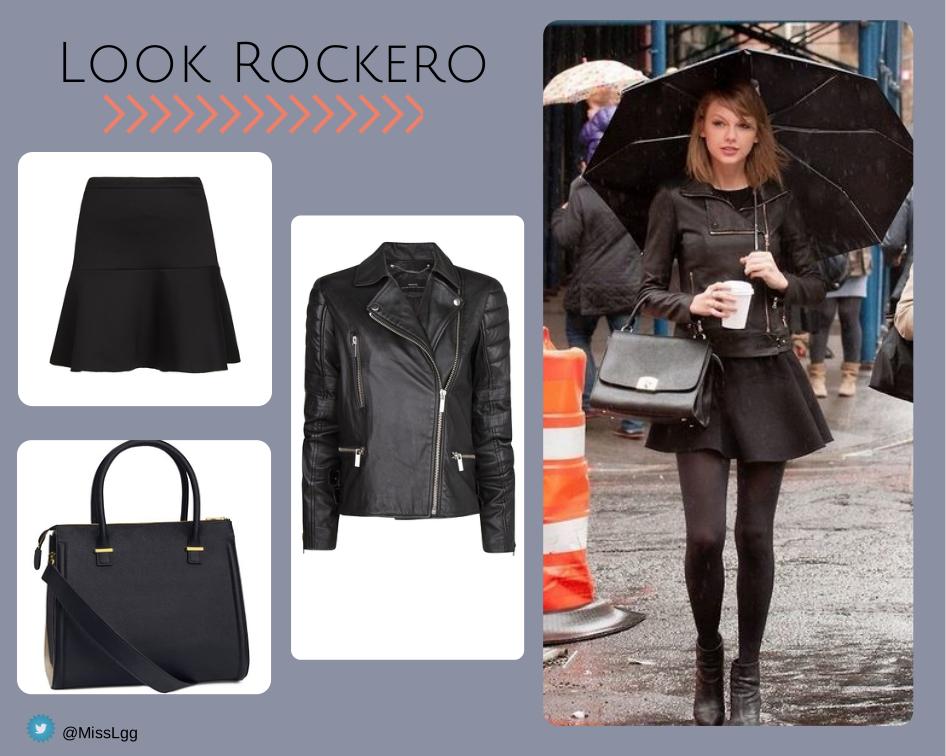 Taylor Swift Street Style: Look lluvia paraguas rockero