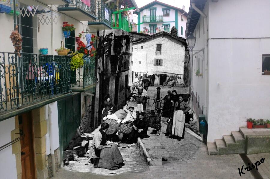 mezcla de fotografia antigua y nieva del poblado de pescadores de hondarribia