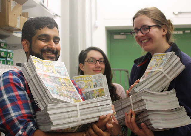 Vivek, Britt, & Lydia holding bundles of Spineless