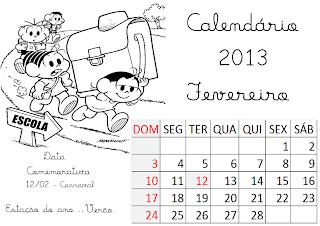 calendário fevereiro 2013