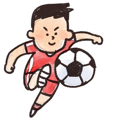 シュートをしているサッカー選手のイラスト