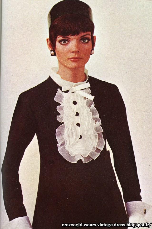 black white dress jabot yves saint laurent 1967 60s 1960