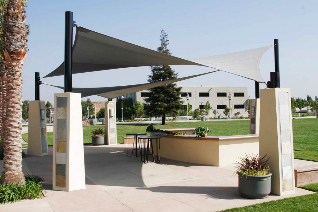 Ptfe tensile shade structures in uae ptfe tensile shade for Shade structures
