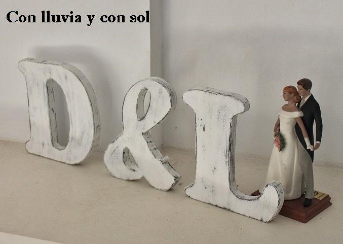 Con lluvia y con sol letras estilo vintage para la boda - Ideas para decorar letras de madera ...