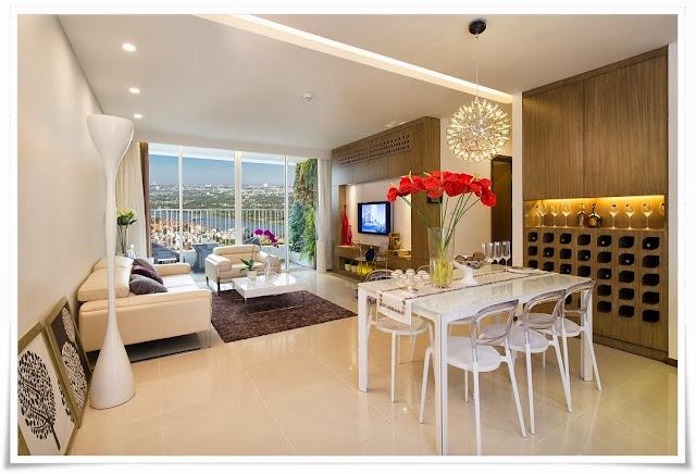 Phòng khách căn hộ mẫu tại Thảo Điền Pearl