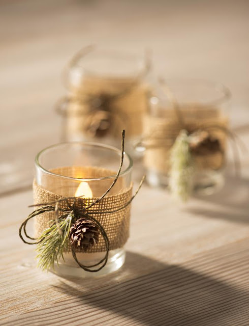Burlap Votive Candle Holders @craftsavy, #craftwarehouse, #burlapribbon, #party, #decor