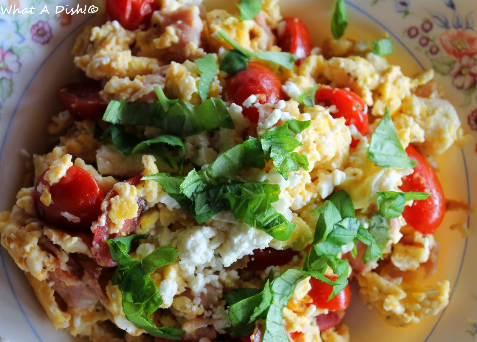 Scrambled Eggs with Feta, Ham, Tomatoes & Basil
