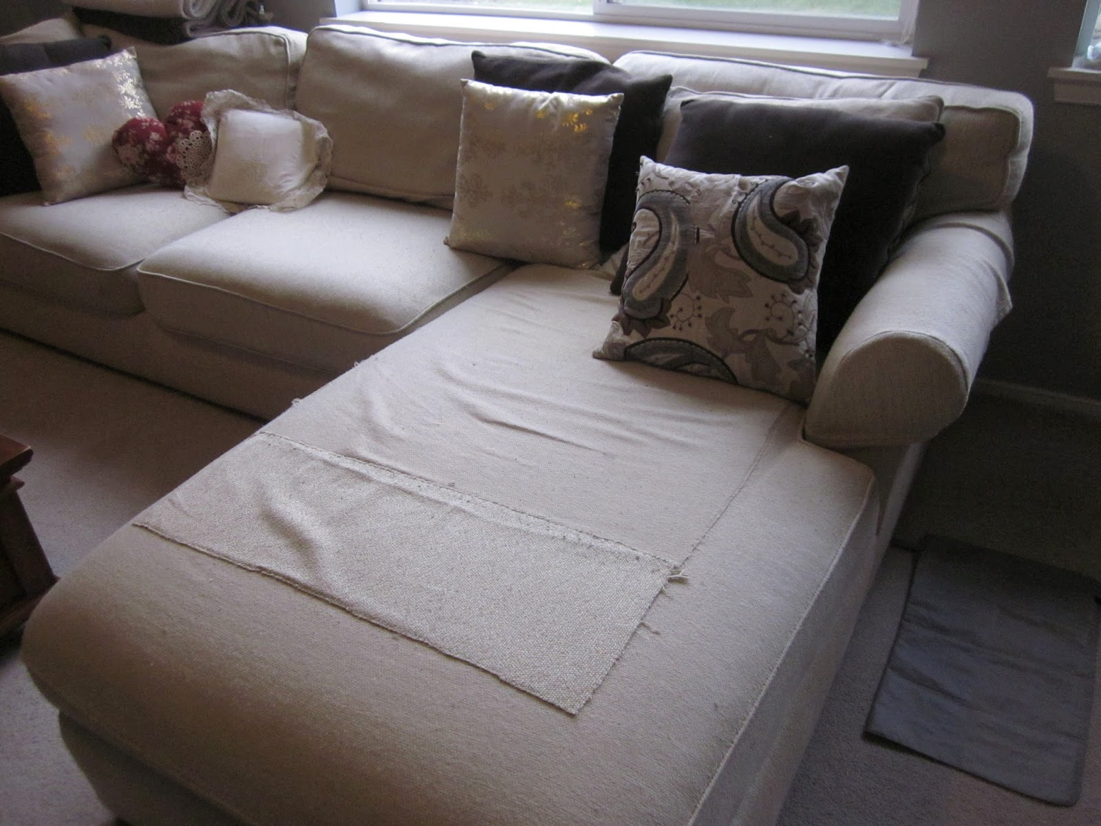 Princes ponies and diamonds diy sectional slipcover for Sectional sofa covers diy