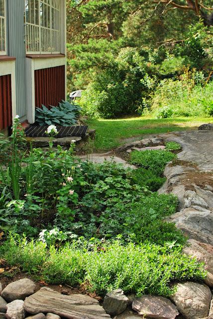 Muonamiehen mökki - Mummonmökki-tyylinen kukkamaa