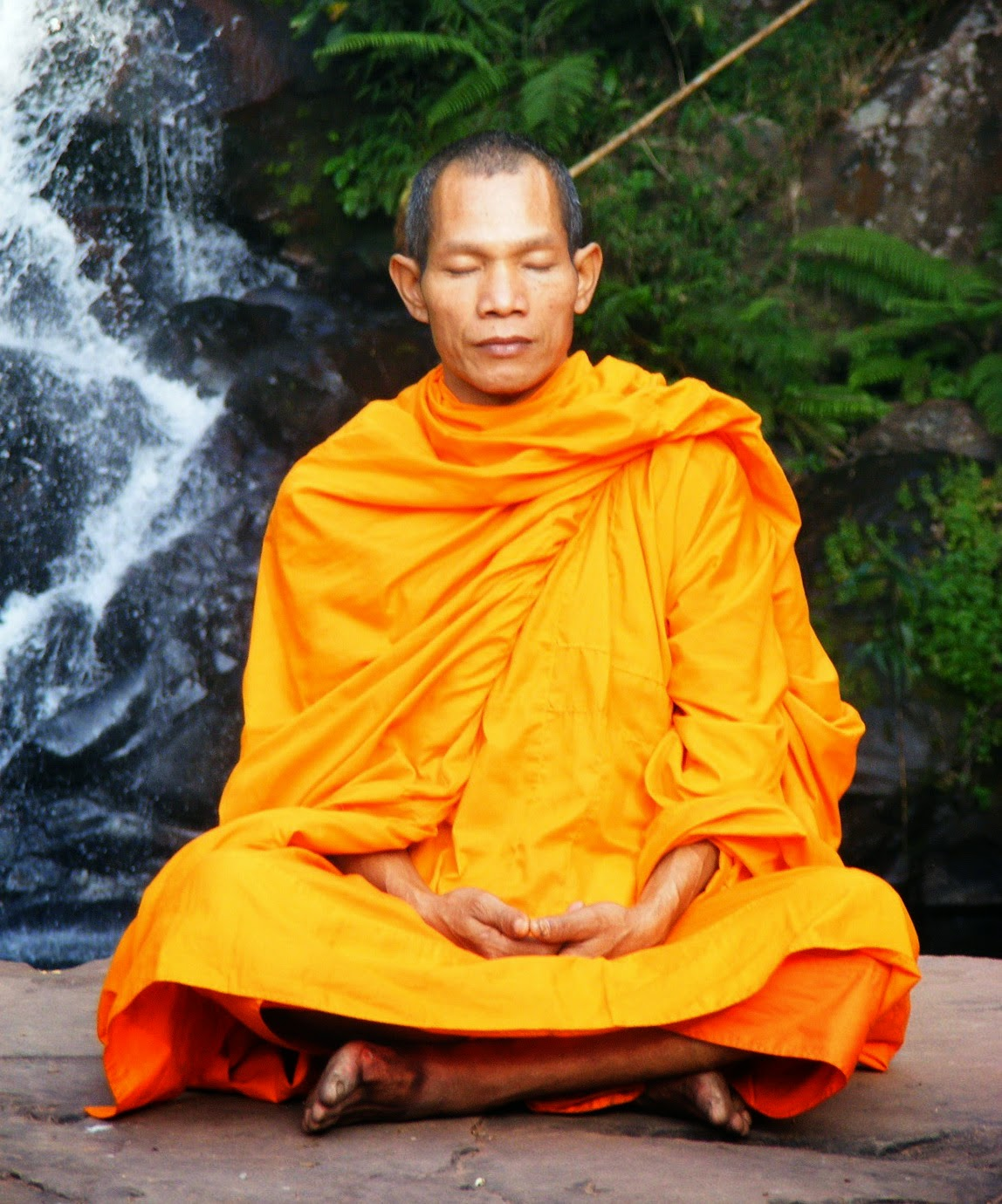 clearing your believes makes positive thinking work, this monk is good at it for sure, meditating close to a waterfall