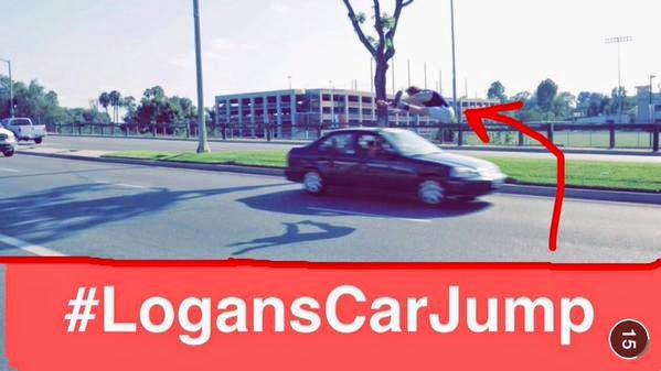 Logan Paul jumping over a car. #LogansCarJump