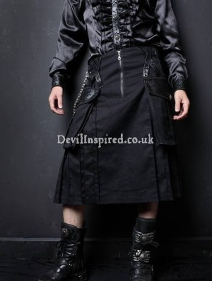 Black Tea-Length Gothic Style Punk Skirt