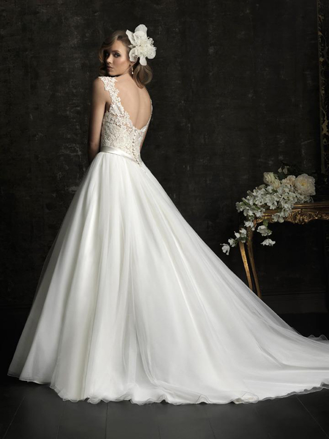 lace back wedding dress bridal gown princess allure bridals fall 2012